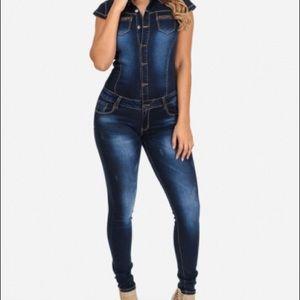 Denim - NWT short sleeve denim jumpsuit